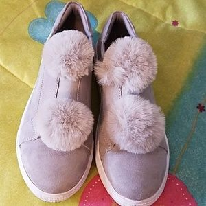 Grey pompom sneakers excellent condition